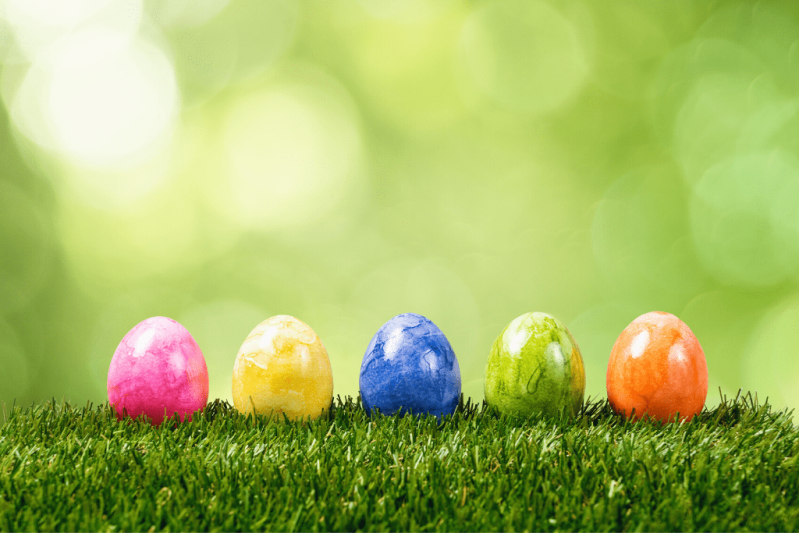 Colorful Easter eggs placed on the grass