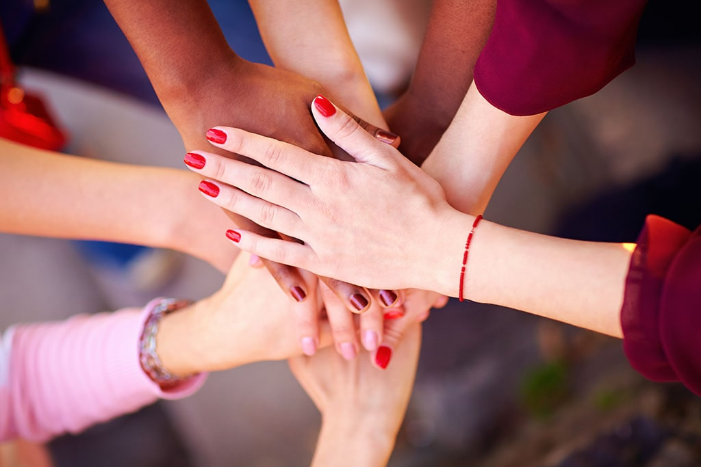 Group of multiracial hands