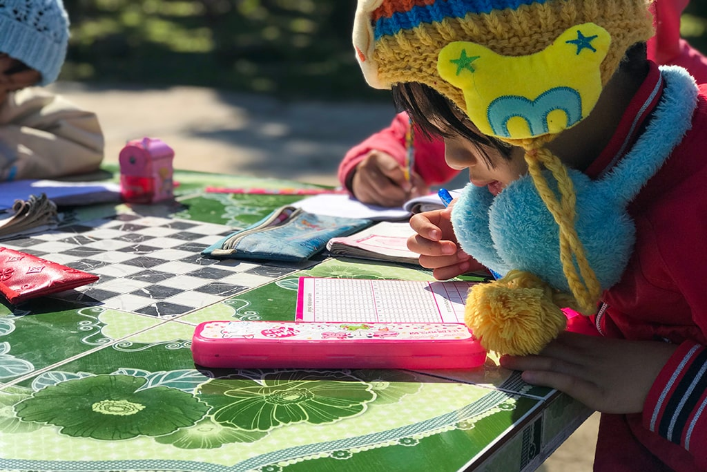 Young child studying outside