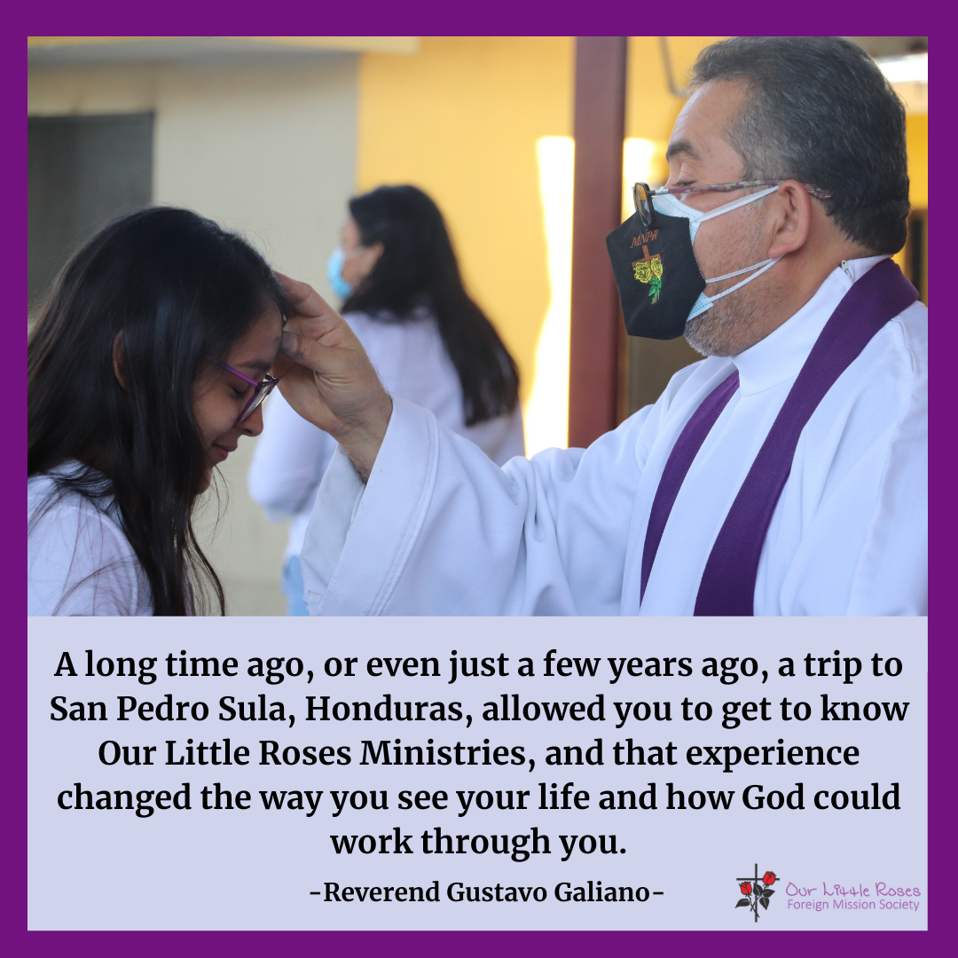 Reverend Galeano delivering Ashes on Ash Wednesday to a Honduran Girl